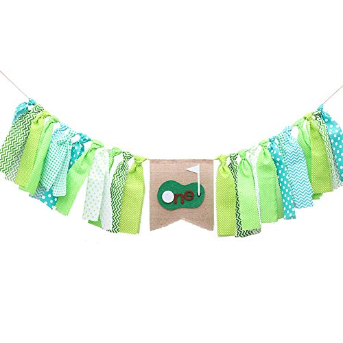 Florashop Boys 1st Birthday Fabric Green Golf Bunting Tassels Birthday Party Flags Banner Decorative Fringe Banner Flags Wall Decorations Kids High Chair Decorations ()