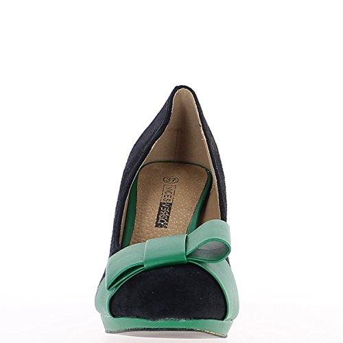 ChaussMoi Escarpins Femme Verts et Noirs à Talons de 9cm et Mini Plateforme