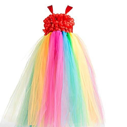 New Flower Girl Rainbow Tulle Dress Skirt Frilly Flower Dance Tutu Prom Robe Ball Gown Long,Red,Age:4-5Y/Skirt length:64CM -