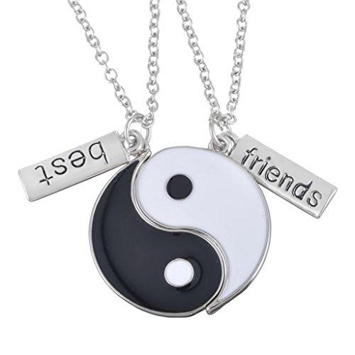 MJartoria Black and White Enameled Split Disc Taoism Yin Yang Pendant Best Friend Necklace Set of 2