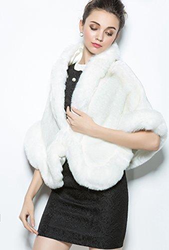 MISSYDRESS Faux Fur Shawl Cape Wrap Stoles for Wedding Bride Party Dress Ivory