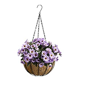 Mynse Hanging Artificial Chrysanthemum Flower Bouquet Flowerpot Home Balcony Outdoor Thanksgiving Christmas Decoration Hanging Artificial Daisy Flowers Basket 44