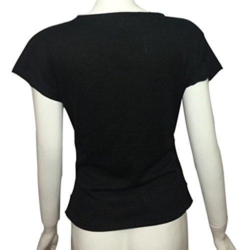 Winwintom Profundo escote en V blusa con volantes mujeres sólidos Negro