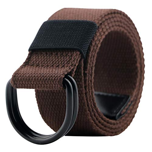 Canvas Belt, Military Web Belts for Men with Double D Ring Buckle Coffee 46
