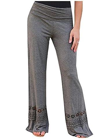 Abetteric Women Soft Chic Straight Printed Smocked Waist PALAZZO PANTS Grey M - Smocked Waist Silk Blouse