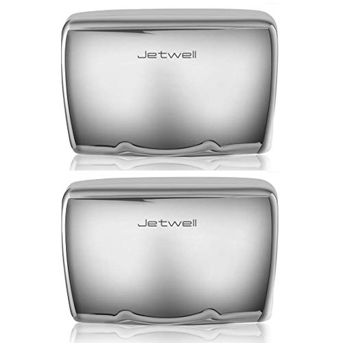 JETWELL (2 Pack High Speed Commercial Automatic Hand Dryer - Heavy Duty Stainless Steel - Warm Wind Hand Blower (Polished Stainless -