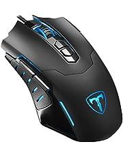 Holife 056 Gaming Maus mit Mauspad (3mm Dicke) Programmierbare USB-Wired Maus (Mousepad 7200 DPI,Programmierbare 7 Tasten,1.8M USB Kabel) Schwarz