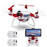 Tech RC Mini Drone with HD Camera WiFi Live Video, Quadcopter with Headless Mode Altitude Hold & 3D Flips, Easy to Fly for Kids & Beginners-Red