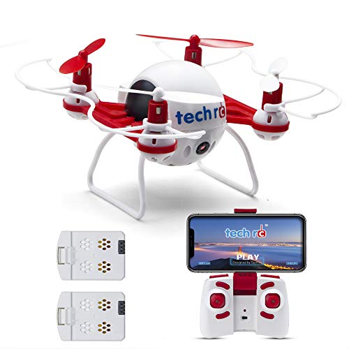 Tech RC Mini Drone with HD Camera WiFi Live Video, Quadcopter with Headless Mode Altitude Hold & 5D Flips, Easy to Fly for Kids & Beginners-Red