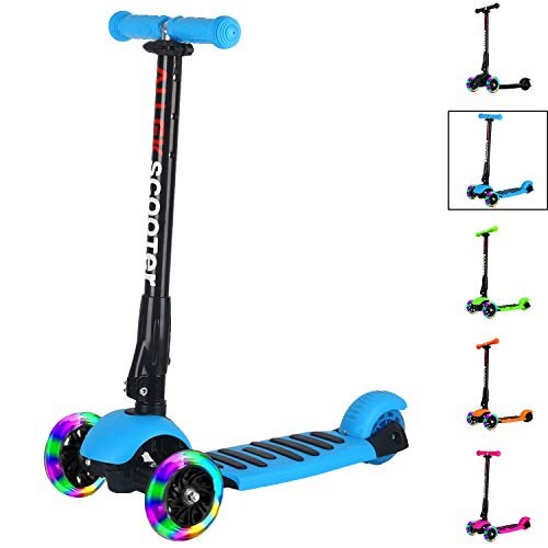 Wheeled Three Kids Scooter (Allek Scooter, 3 Wheel Kick Scooter for Kids Boys Girls Adjustable Height PU Flashing Wheels Best Gifts for Children from 3-14yrs)