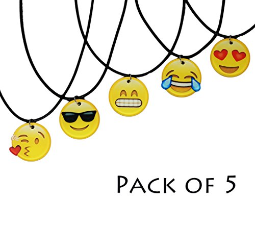 Emoji Necklace Pendant with Strap - Pack of 5