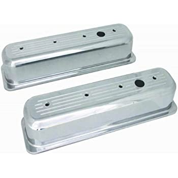Racing Power Company R6191 Tall Finned Polished Aluminum Center Bolt Valve Cover for Small Block Chevy
