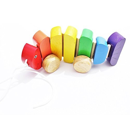 - Shumee Wooden Rainbow Fish Push and Pull Along Toy for Toddlers, Kids, Preschool Age Children | Educational, Constructive Toy | 100% Safe, Natural & Eco-Friendly | Explore Colors| 1 Years+