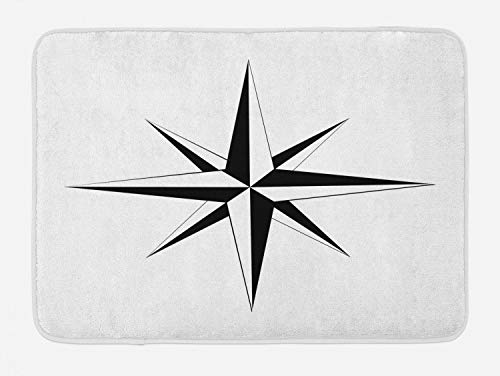 (Lunarable Vintage Nautical Tattoo Bath Mat, Simplistic Illustration of a Windrose Maritime Themed Star Print, Plush Bathroom Decor Mat with Non Slip Backing, 29.5