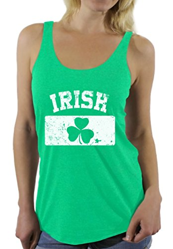 Awkward Styles Women's St. Patricks Day IRISH Clover Vintage Flag Graphic Racerback Tank Tops Envy M (St Patricks Day Outfit Ideas)