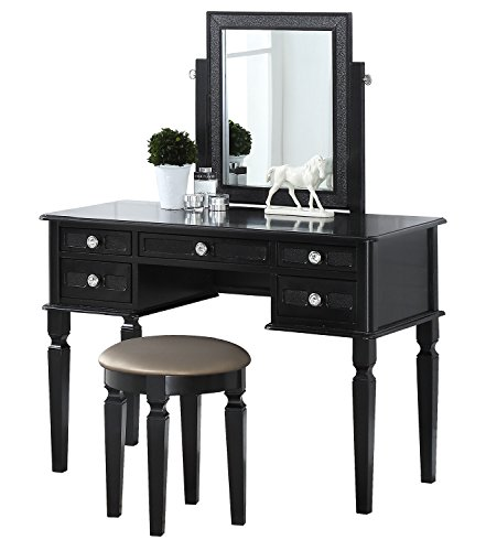 BOBKONA F4180 Vanity Table with Stool Set, Galaxy Black