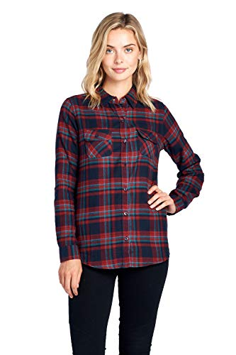 Blue Age Womens Casual Long Sleeve Plaid Flannel Shirt (CT0030_NP06_S) ()
