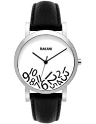 Rakani What Time? 40mm Black on White Watch with Black Leather Band