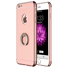 3in1 360 Degree Rotational Ring Kickstand Electroplating Hard Back Case Cover for iPhone6 Plus 5.5inches iPhone 6s Plus 5.5 inches (Rose Gold)