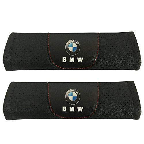 (2pcs Set BMW Car Seat Safety Belt Covers Leather Shoulder Pad Accessories Fit for BMW 2-Series BMW 3-Series BMW 3-Series Wagon BMW 4-Series BMW 5-Series BMW 6-Series BMW)
