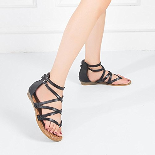 Casual Back Cross Flops Shoes Thong Flat Fashion Womens Inkach Flip Zipper Sandals Summer Sandals Black Beach Strap wvA7Xx
