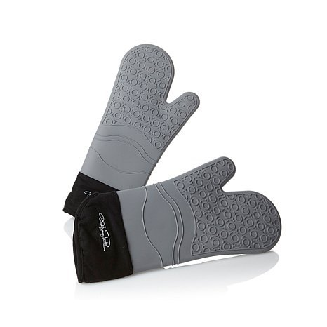 Wolfgang Puck Bistro Elite Silicone Oven Glove Set - BLACK -