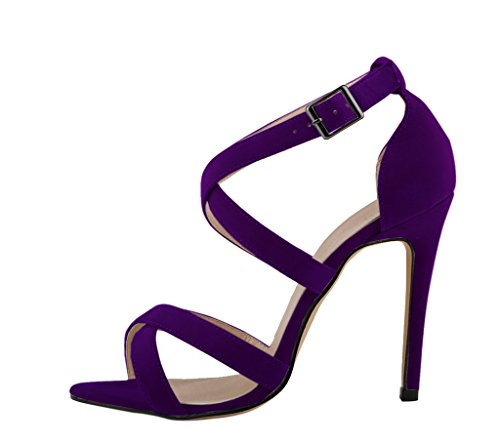 Women's Evening High Heels Open Toe Ankle Strap Casual Stiletto Pumps Sandals purple velveteen L7E2C