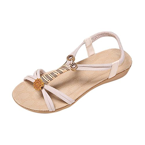 outdoor mujer toe bohemia Winwintom peep sandalias Blanco de venda Mujeres Sandals de plana Zapatos ocio A7qZ0