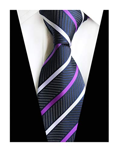Mens Stripes College Navy Silk Ties Jacquard Herringbone Gentlemen Necktie Gifts