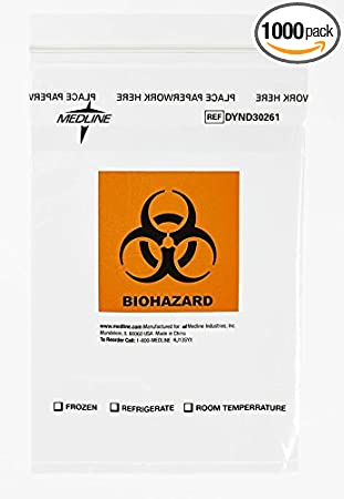 Amazon.com: Medline dynd30261 zip-style Biohazard Specimen ...
