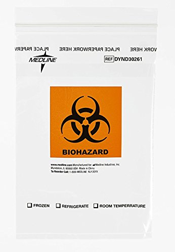(Medline DYND30261 Zip-Style Biohazard Specimen Bags, Plastic, Latex Free, 9