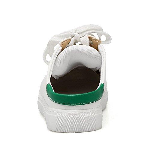 Balamasa Plataforma Con Cordones De Las Señoras Punta Redonda Pisos De Uretano Zapatos Verdes