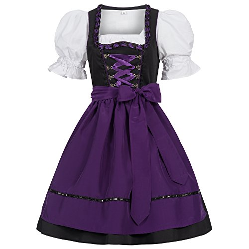 Gaudi-leathers Women's Set-3 Dirndl Pieces Embroidery Froschmaul Black/Purple ()