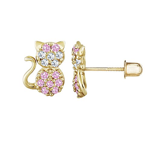 14kt Solid Gold Kids Cat Stud Screwback Earrings- (14kt Gold Cat Ring)