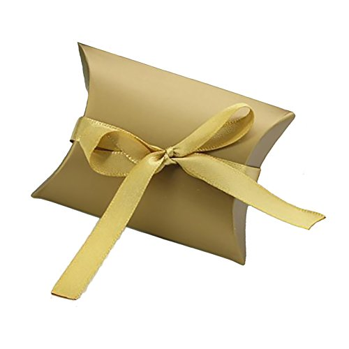 Aokbean Pack of 100 Cute Kraft Paper Pillow Gift Boxes Wedding Favor Party Supply Favour Gift Candy Box 3.5*2.6 Inch with 50 Yards Ribbon (Gold)