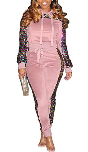 Women 2 Piece Outfit Sequin Glitter Stitching Fleece Velvet Pullover Hoodie and Long Pants Tracksuits Jumpsuits Pink ()