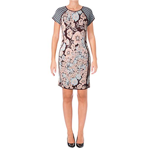 Juicy Couture Black Label Womens Jacquard Floral Print Sweaterdress Blue M