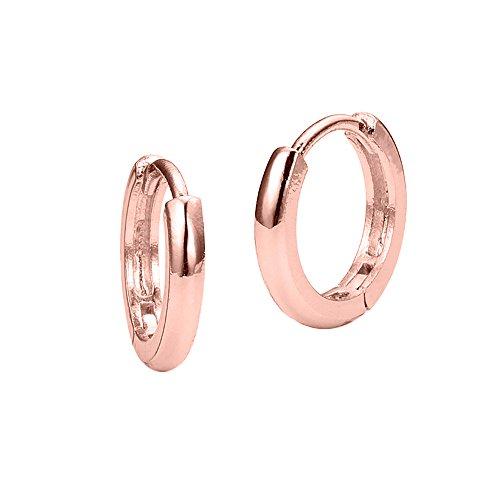 14k Rose Gold Plated Brass Small Plain Hoop Huggie Baby Girls Earrings