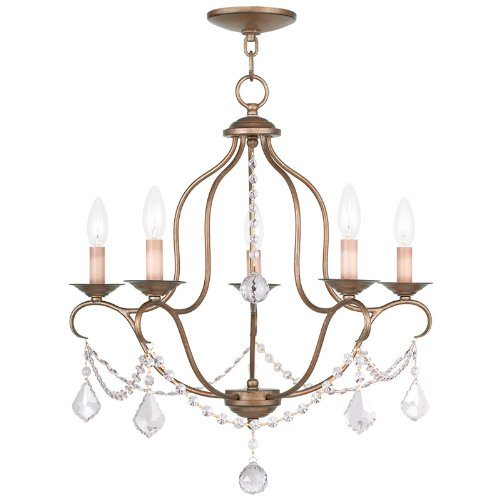 Livex Lighting 6435-48 Chesterfield 5 Light Chandelier, Antique Gold Leaf Antique Gold Chandelier