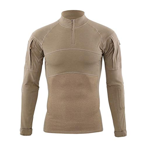 Mens Muscle Tactical t-Shirt Blouse Long Sleeve Elastic Quick Dry Training Sports Fitness Tops Cotton Breathable Tracksuit (Khaki, M)