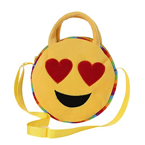 (Lovely Kids Round Emoji Face Emoticon Plush Shoulder Cross Body School Bag Gift)