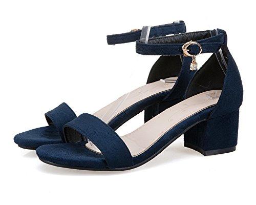 VogueZone009 Donna Punta Azzurro Aperta Puro Sandali Fibbia Tacco CCALLO012000 Medio rrWTcqd