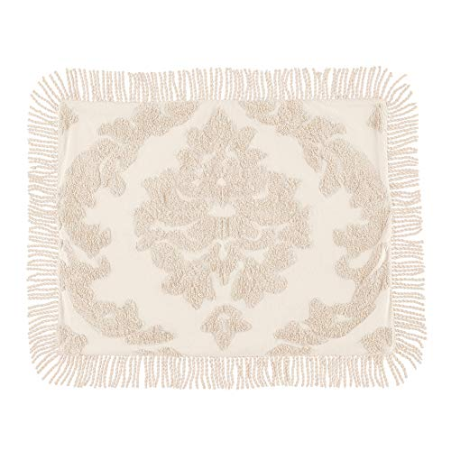 Collections Etc Logan Raised Medallion Chenille Pillow Sham with Fringe Border, Ivory, Sham