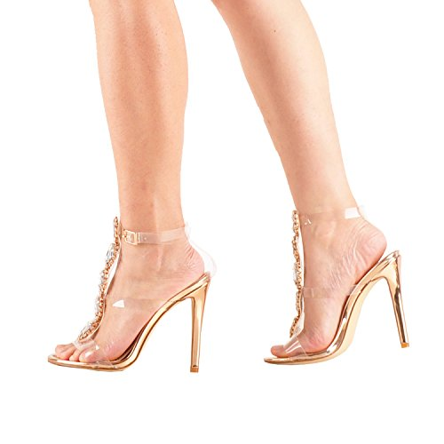 Ankle Heels Rhinestones Sandals Stiletto Womens Gold Transparent With Strap Clear Block Gem Rose Onlymaker High Gladiator AwxpR54qO4