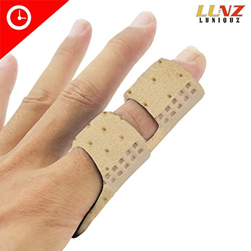 Finger Brace Splint, Luniquz Finger Splint with Rigid Support to Immobilize Finger Joint & Relieve Pain for Trigger Finger,Arthritis, L/Beige ()