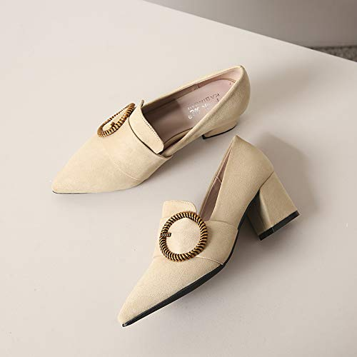 Work Single Autumn High heels Shoes And Middle Black Pointed Wild Shoes High Professional Heels With Girl Apricot Yukun Female Thick Ofwzwxq