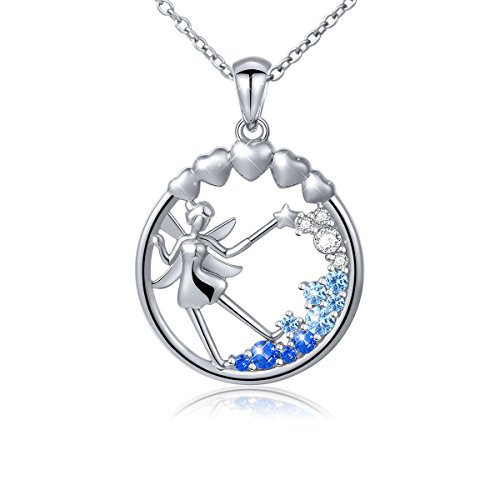 S925 Sterling Silver Fairy with Angel Wings Jewelry Pendant Necklace for Girls (Gold Fairy Necklace)