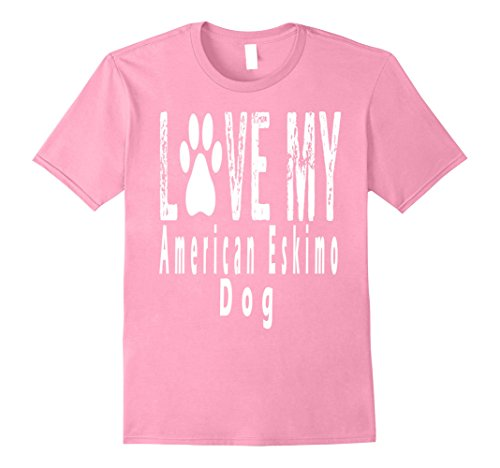 Mens Love My AMERICAN ESKIMO DOG T-Shirt 3XL Pink (American Eskimo Designs)