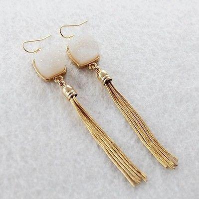phitak shop Fashion Nice Golden Tassel Women Ice Cocktail Dangle Drop Pierced Hook Earrings - Ice Dangle