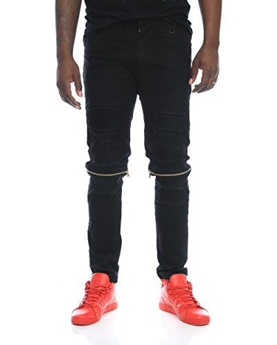 3bb48f6b43e0 Kayden K Men s Gold Zipper Knee Destroyed Skinny Stretch Twill Jeans -Black-36 32